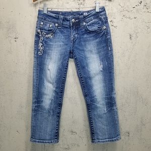 Miss Me Bling Distressed Cropped Jeans Sz 30x19